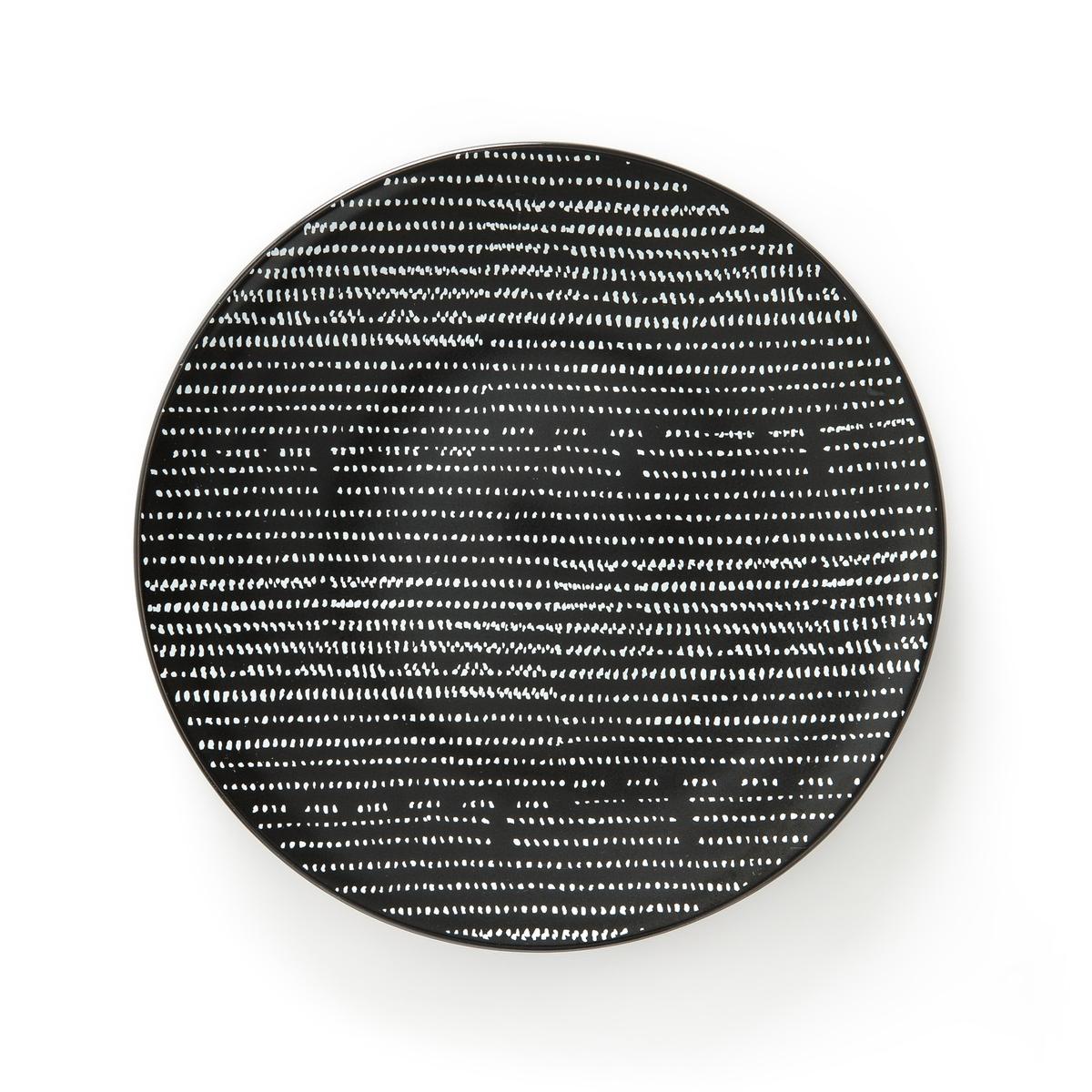 4 плоские тарелки из керамикиTADSITОписание:Комплект из 4 тарелок Tadsit с невероятно стильным дизайном для создания нового декора .Характеристики тарелок  :Комплект из 4 плоских тарелок из тонкой керамики с матовой отделкой .   Всю коллекцию Вы можете найти на сайте laredoute.ruРазмеры тарелок :Диаметр : 25 смУход :Подходят для микроволновой печи и посудомоечной машины<br><br>Цвет: наб. рисунок черный/ белый
