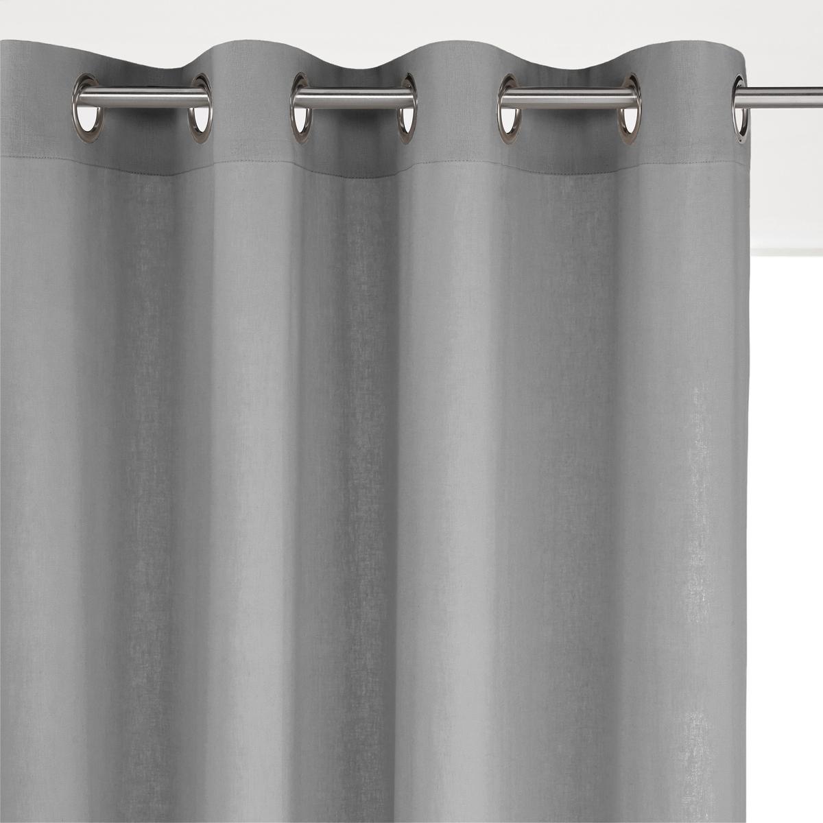 Штора LaRedoute Из льна и вискозы с люверсами ODORIE 350 x 135 см серый скатерть laredoute из льна linette 180 x 350 см белый