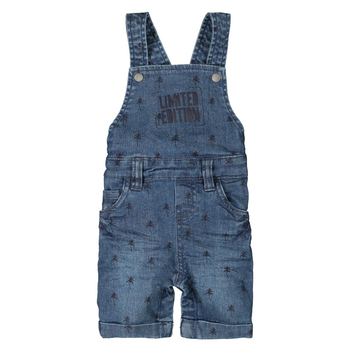 Комбинезон LaRedoute Короткий из джинсовой ткани с рисунком 3 мес - 3 лет 3 года - 94 см синий