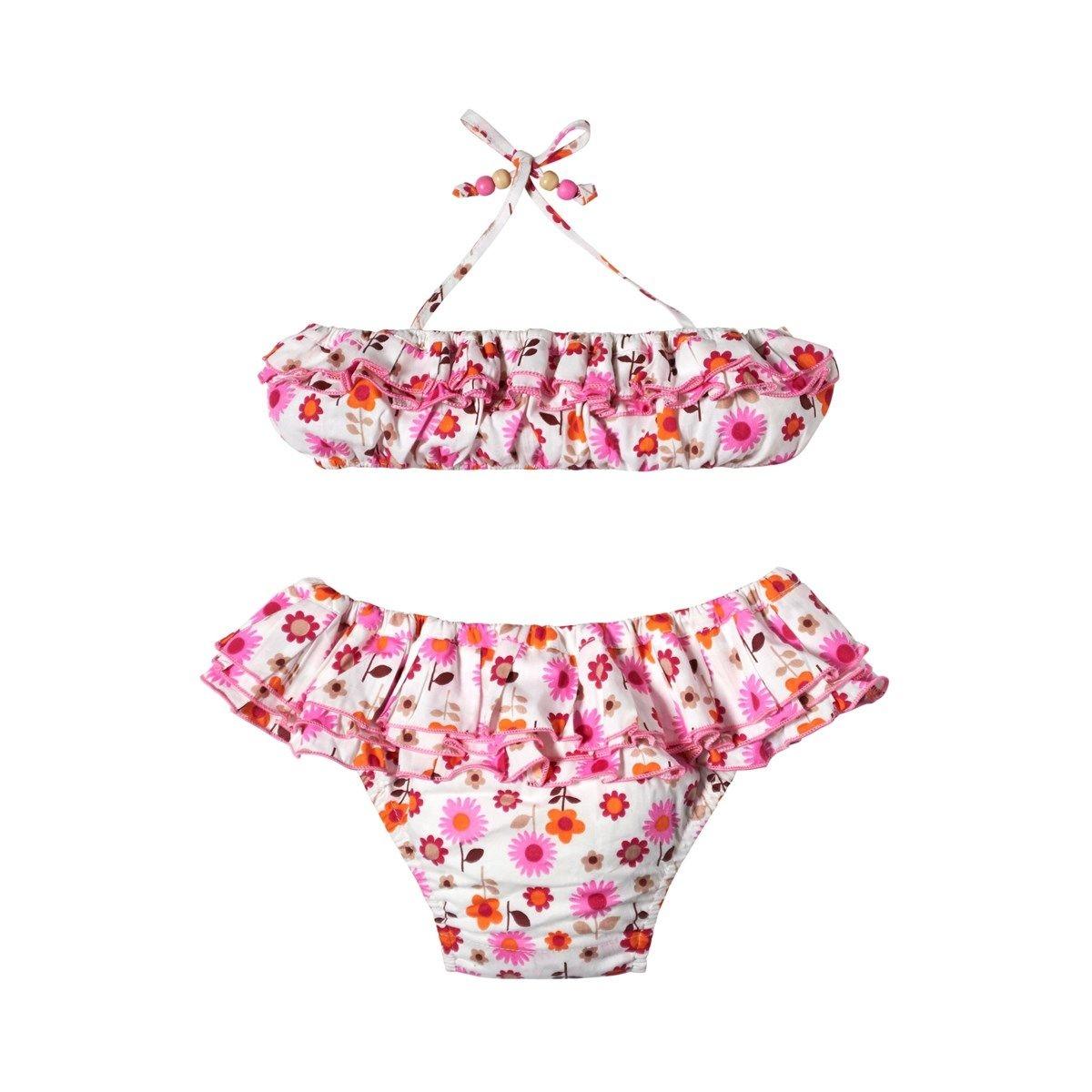 Maillot bikini - deux pièces - à volants fleuri - SWAN