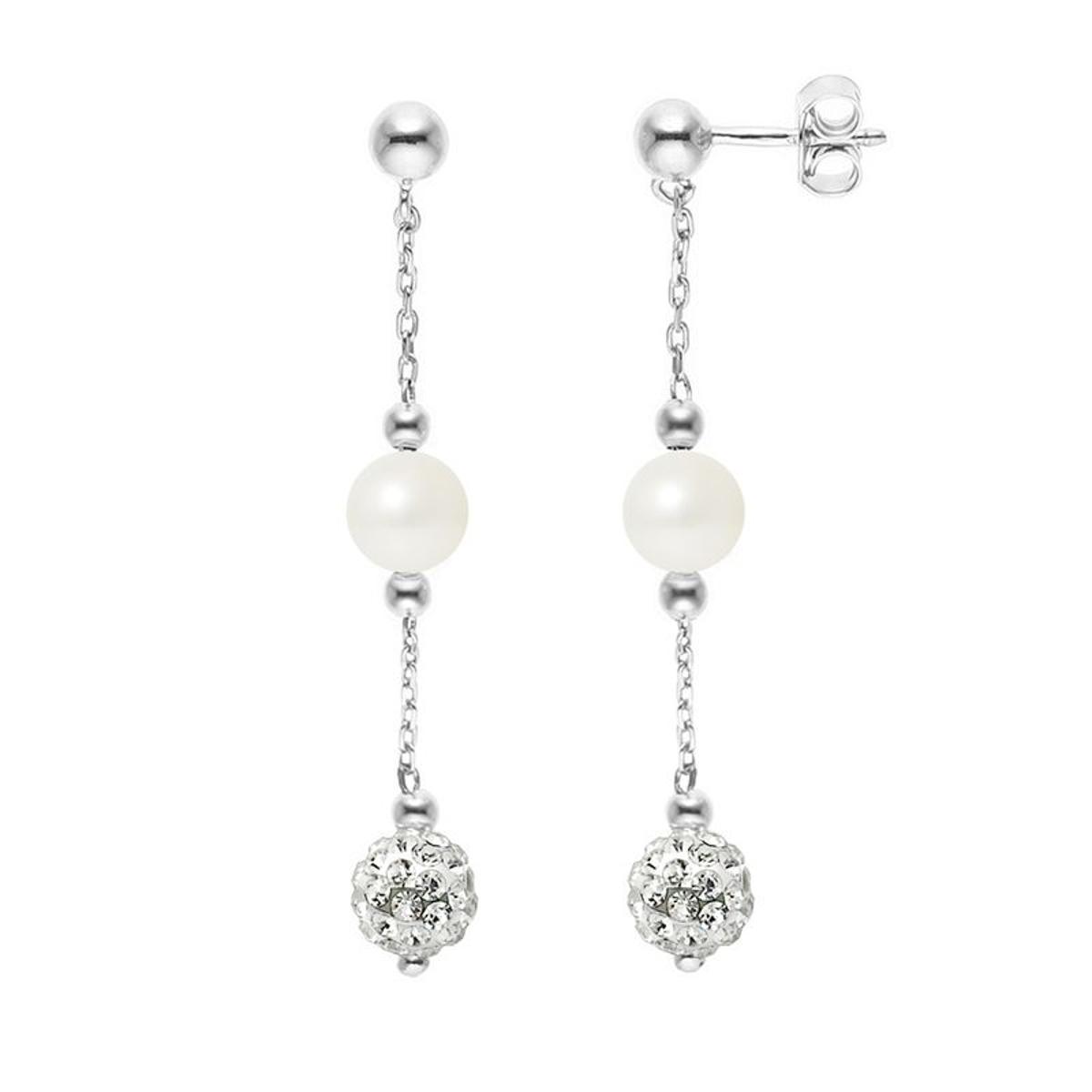 Boucles d'Oreilles Perles de Culture et Cristal