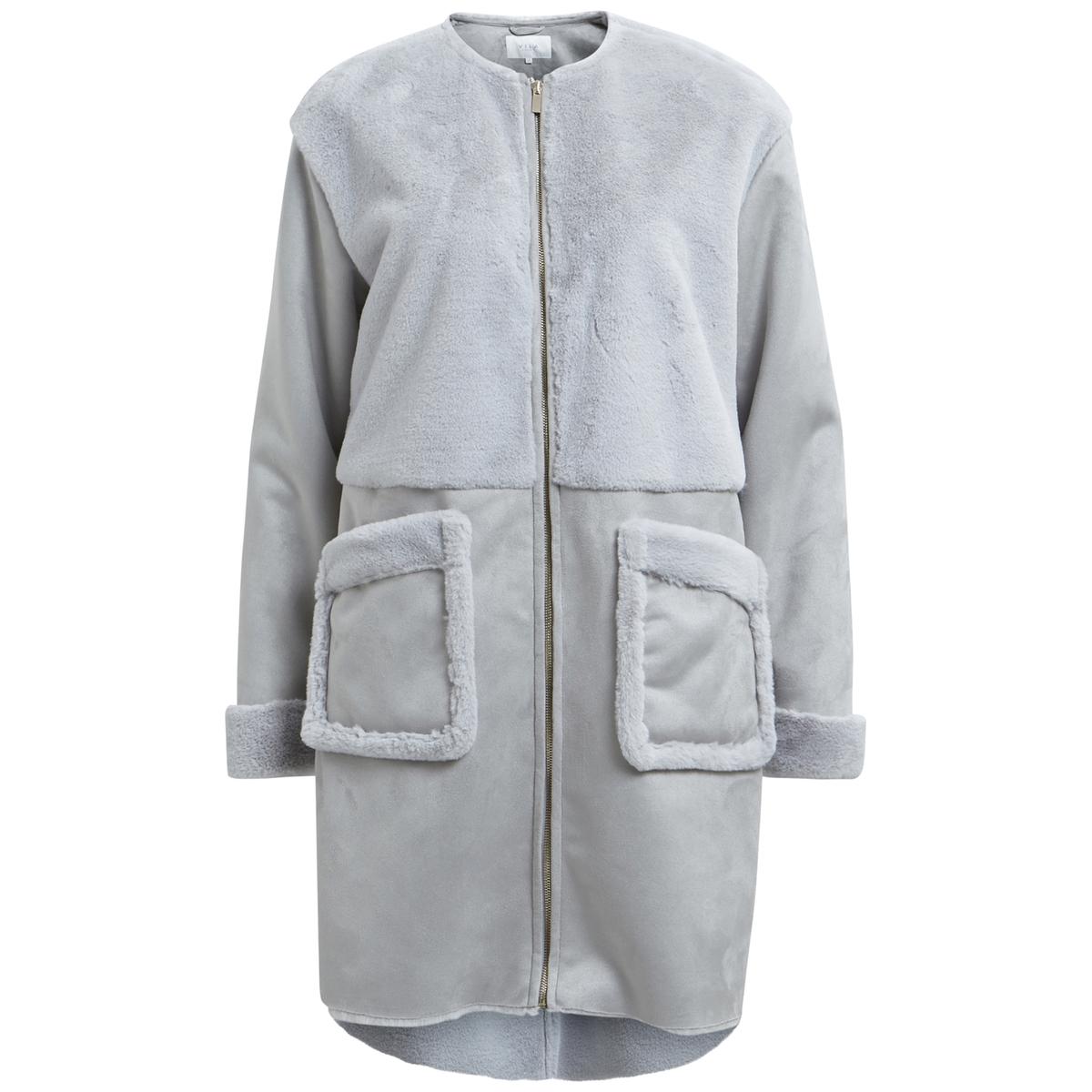 Пальто женское из двух материалов средней длины с круглым вырезом