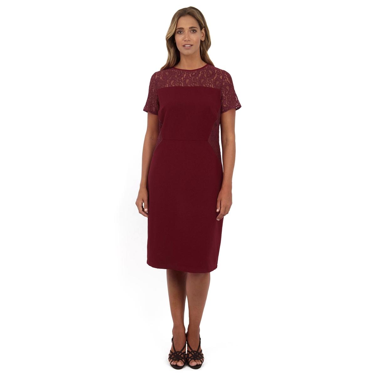 ПлатьеПлатье с короткими рукавами - LOVEDROBE. Симпатичное кружево в верхней части. 100% полиэстер. Длина ок.104 см<br><br>Цвет: бордовый<br>Размер: 54/56 (FR) - 60/62 (RUS)