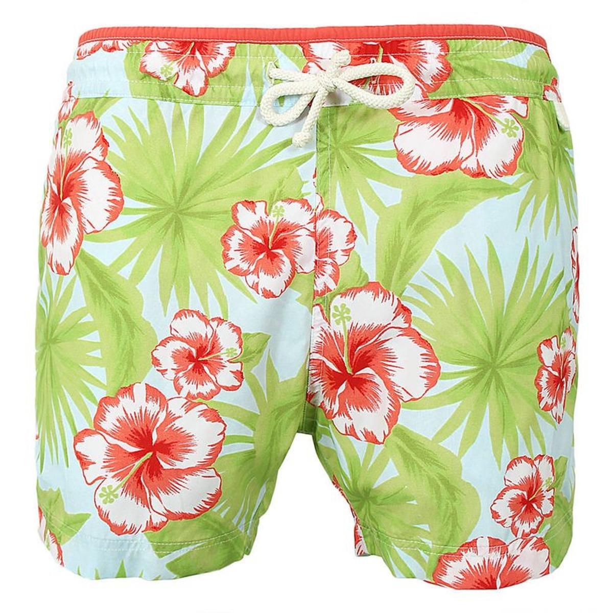Maillot Short de bain homme New Jim Pastel flower vert et rose
