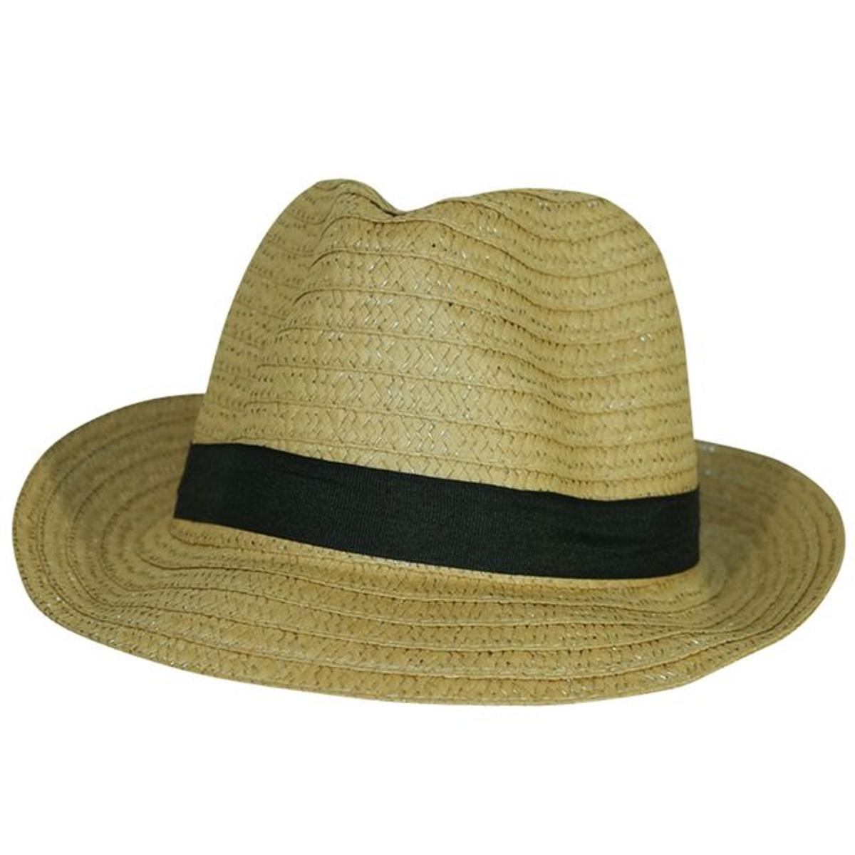 Chapeau trilby beige ruban noir