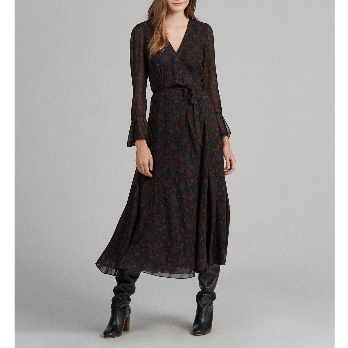 Платье La Redoute Длинное с рисунком и длинными рукавами 38 (FR) - 44 (RUS) другие платье миди la redoute с запахом с цветочным принтом 54 fr 60 rus другие
