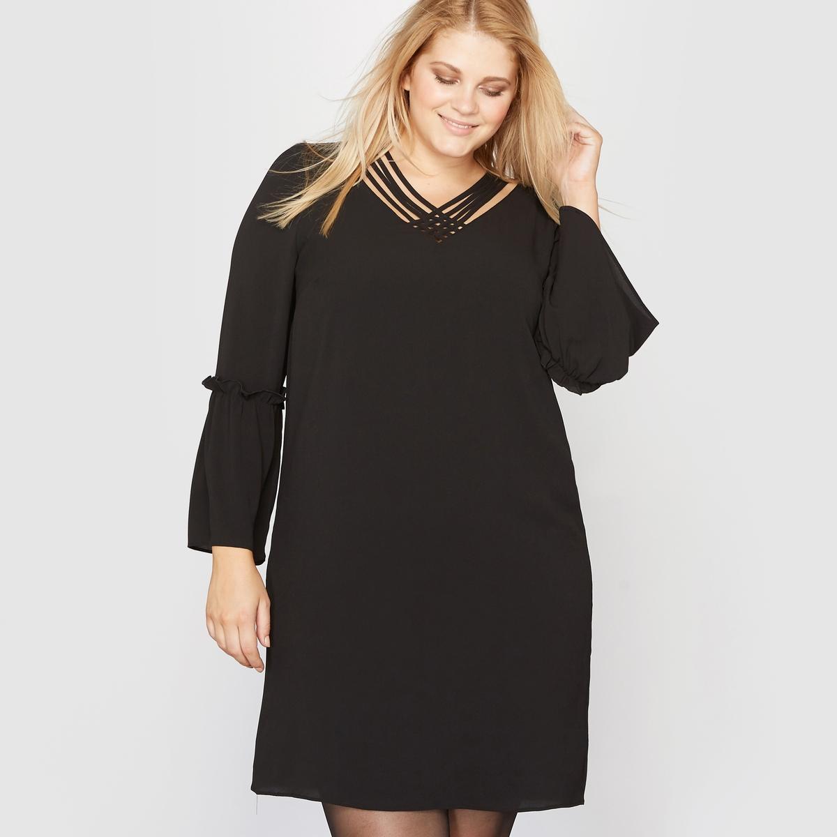 Платье с рукавами пагодаСостав и описание :Материал : Креп 96 % полиэстера, 4 % эластана .Подкладка 100% полиэстер.Длина : 98 см.Марка : CASTALUNA.Уход : Машинная стирка при 30 °С.<br><br>Цвет: черный