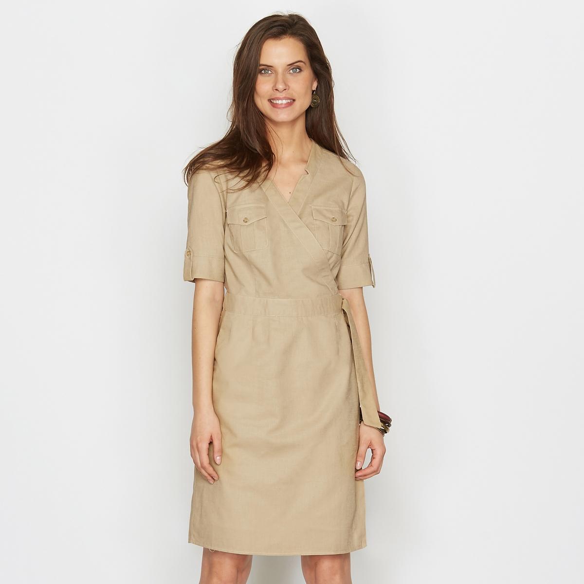 Платье с преобладанием льнаЭластичная, натуральная красивая ткань 55% льна, 45% хлопка .<br><br>Цвет: бежевый<br>Размер: 42 (FR) - 48 (RUS).44 (FR) - 50 (RUS).48 (FR) - 54 (RUS)
