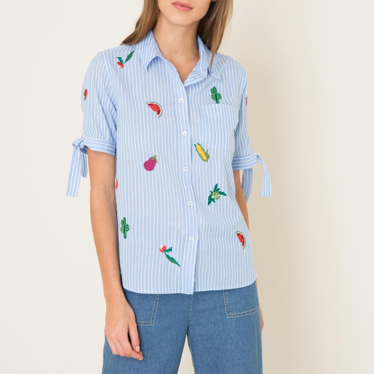 Рубашка CHARM VEGGIEРубашка LEON AND HARPER - модель CHARM VEGGIE в полоску с нашивками и вышивкой. Хлопок с окрашенными нитями. Короткие рукава со вставкой и завязками снизу. Застежка на пуговицы. Закругленный низСостав и описание      Материал: 100% полиэстер     Марка: LEON AND HARPER<br><br>Цвет: синий<br>Размер: M