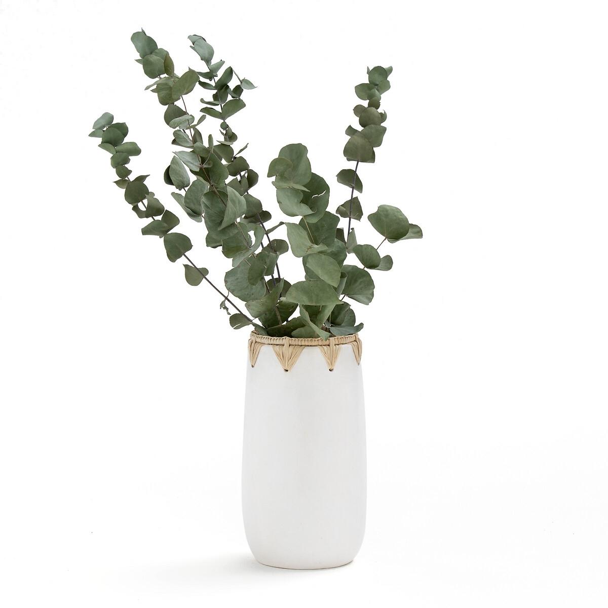 Ваза La Redoute Декоративная из керамики и сизаля Kuro единый размер белый