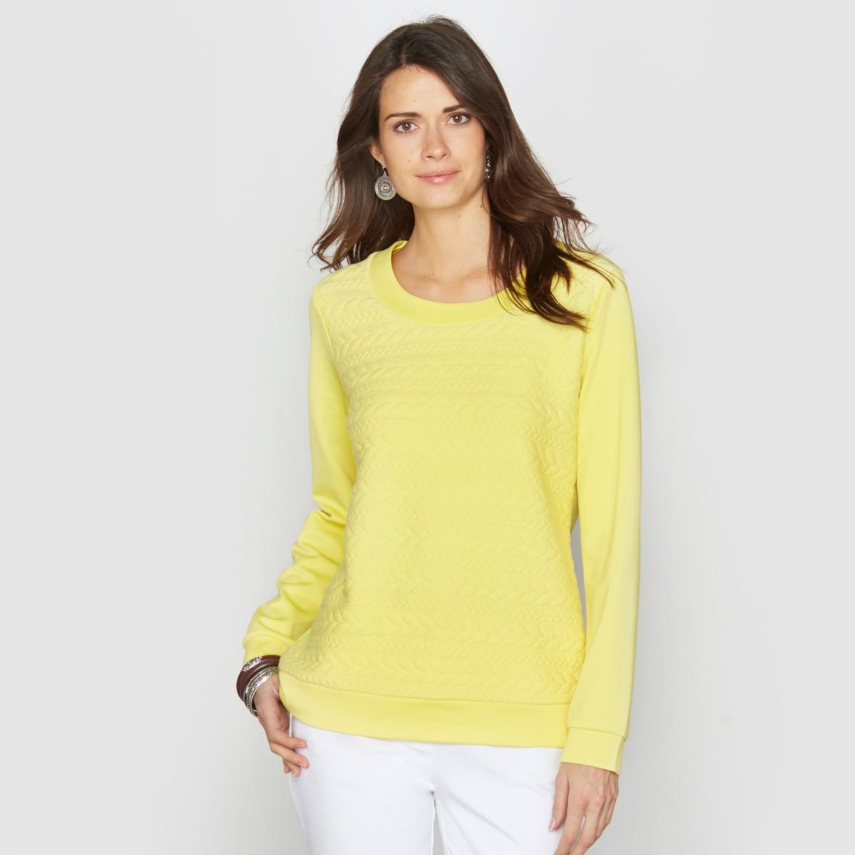 Свитшот из рифленого трикотажаСвитшот из красивого фантазийного трикотажа с рифленой поверхностью спереди. Однотонная спинка . Круглый вырез. Длинные рукава . Длина. 62 см. 97% полиэстера, 3% эластана.<br><br>Цвет: желтый<br>Размер: 46/48 (FR) - 52/54 (RUS)