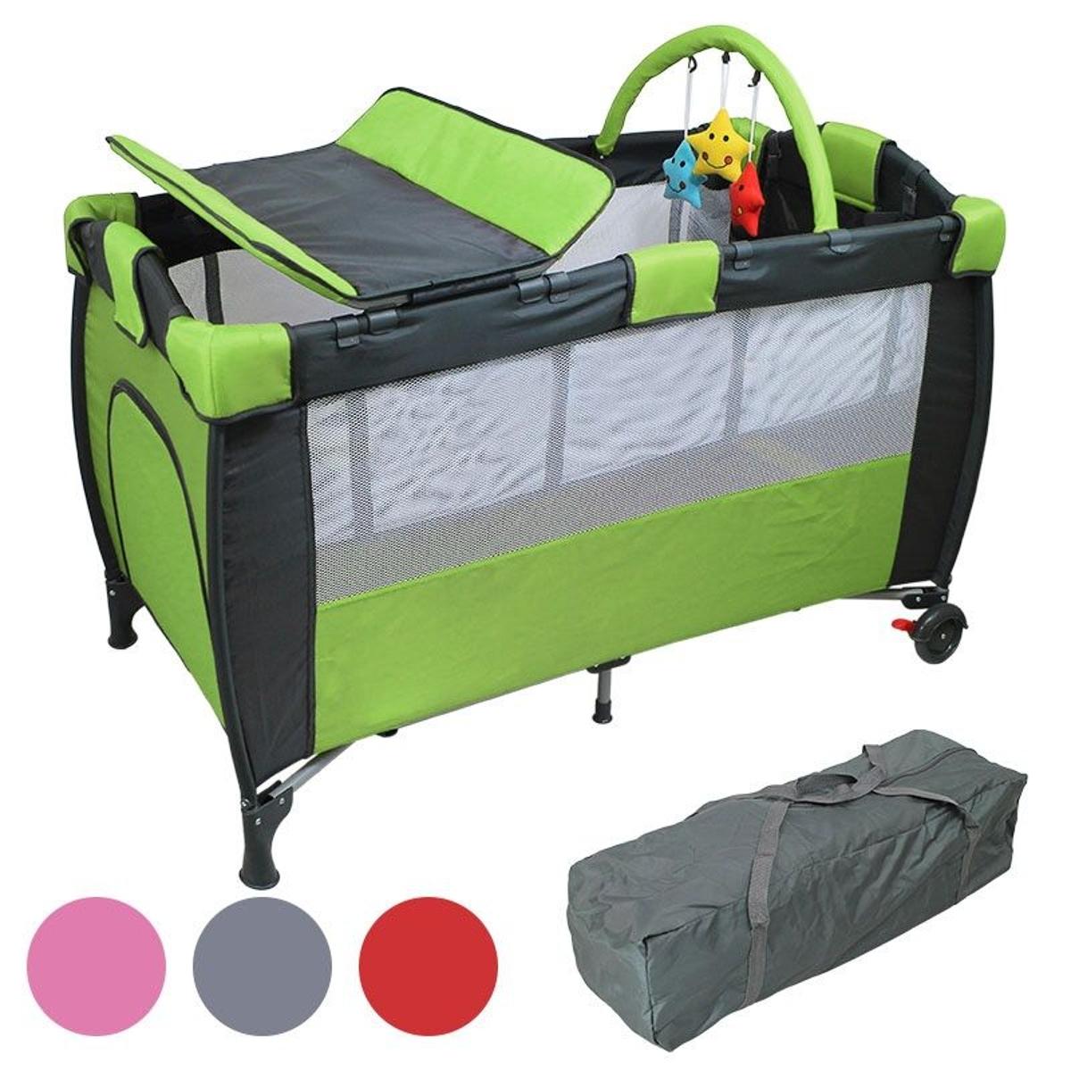 Lit bébé parapluie 60 x 120 cm avec matelas, plan à langer, hamac et Jouets - Vert
