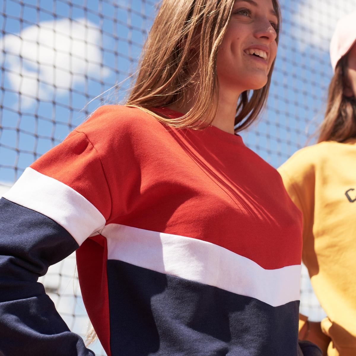 Свитшот La Redoute С круглым вырезом из мольтона 14 лет - 156 см красный свитшот la redoute с круглым вырезом и вышивкой s черный