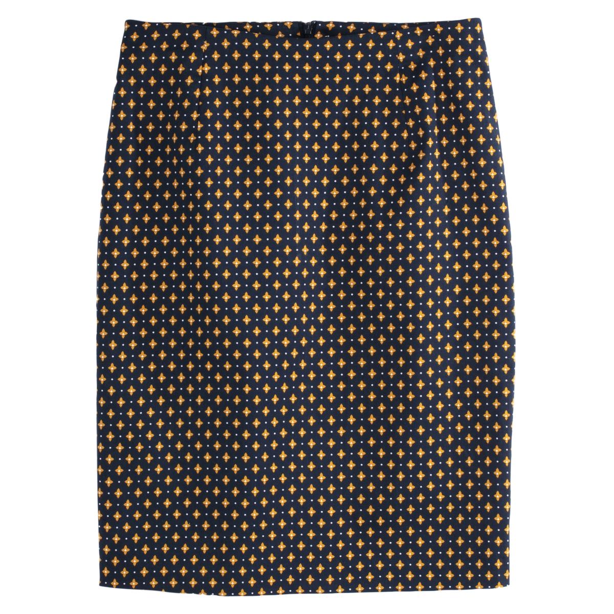 Falda tubo con estampado geométrico semilarga