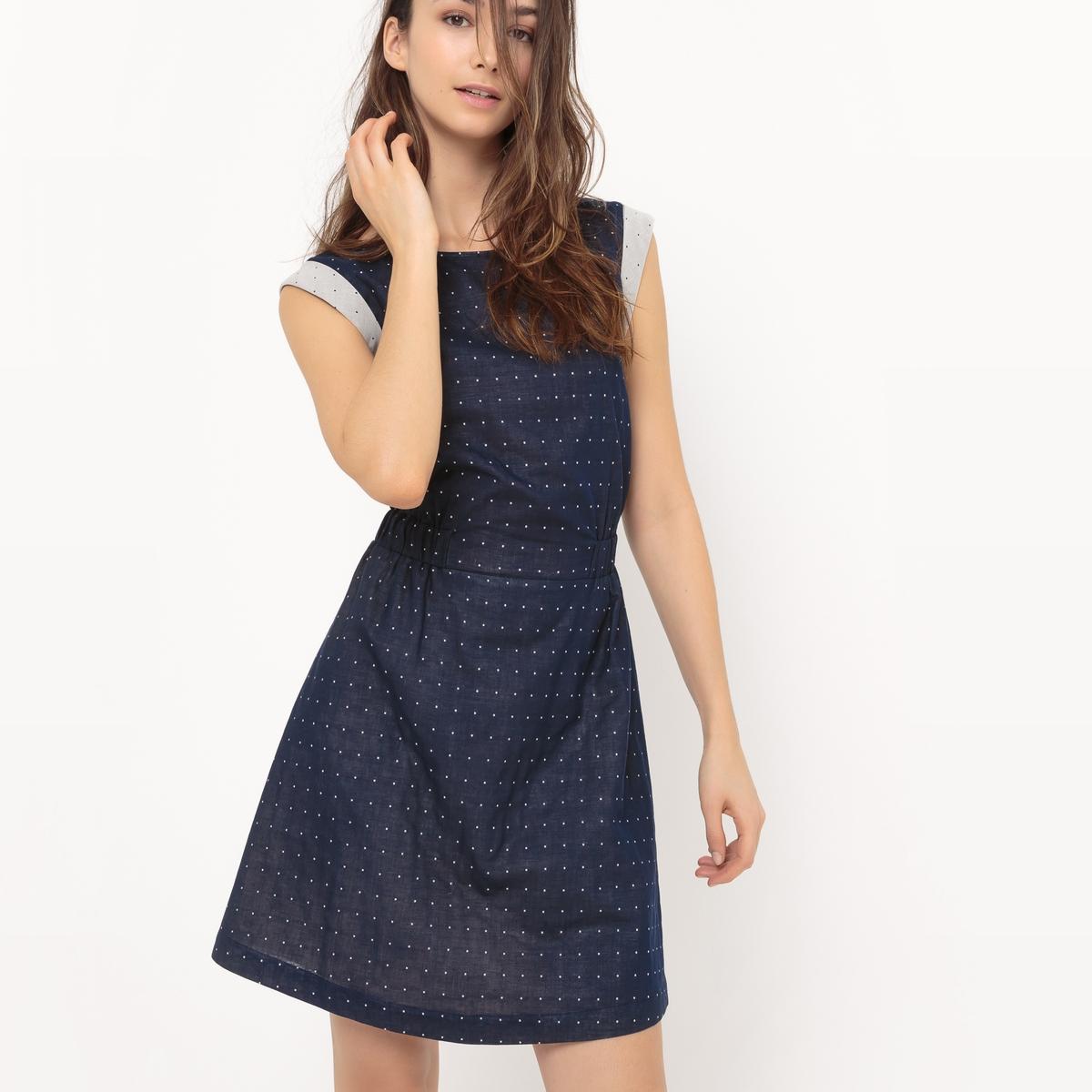 Платье расклешенное, с бантиком сзадиМатериал : 100% хлопка.       Длина рукава : Короткие рукава       Форма воротника : круглый вырез      Покрой платья : расклешенное платье      Рисунок : Однотонная модель       Особенность платья : с бантом      Длина платья : до колен<br><br>Цвет: синий индиго<br>Размер: 46 (FR) - 52 (RUS).44 (FR) - 50 (RUS)