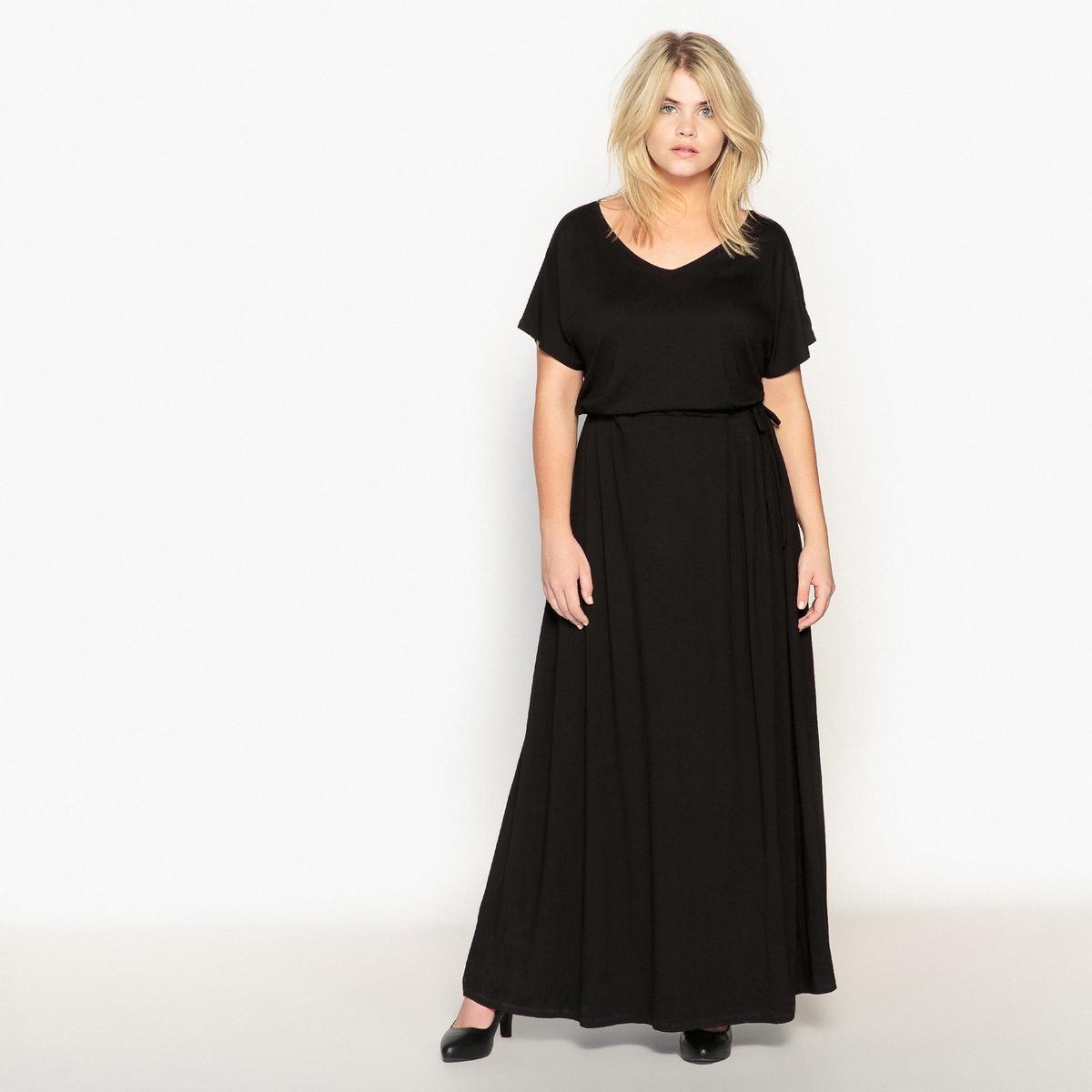 Платье прямое длинное, однотонное, с короткими рукавами