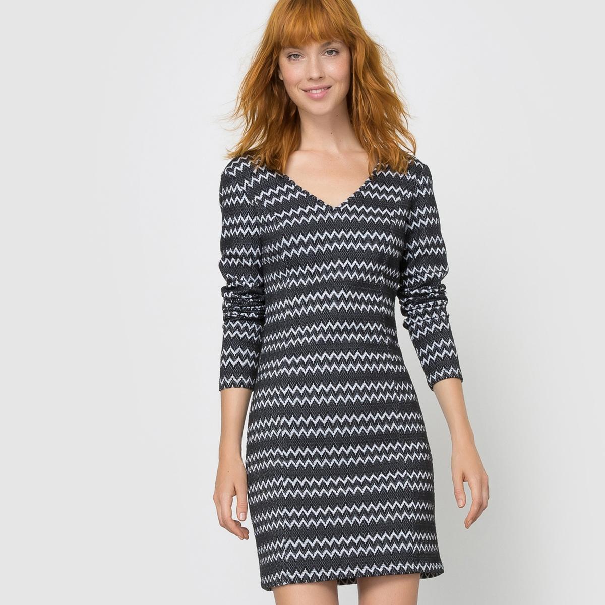 Платье облегающее с V-образным вырезом VIRIGGA DRESSСостав и описание :Материал : 72% хлопка, 26% полиэстера, 2% эластанаМарка : VILA.<br><br>Цвет: черный/ белый<br>Размер: M