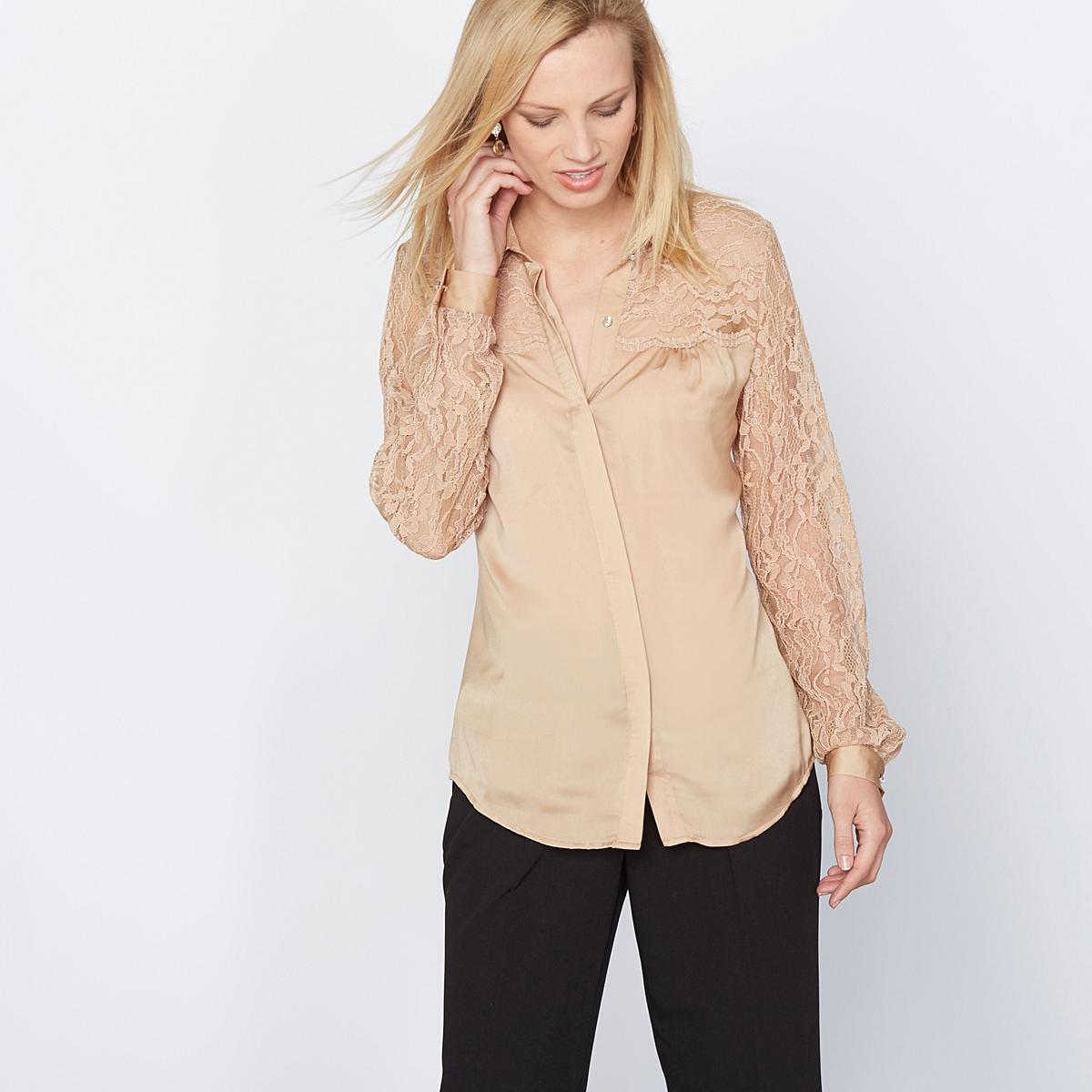 Рубашка из сатина и кружева
