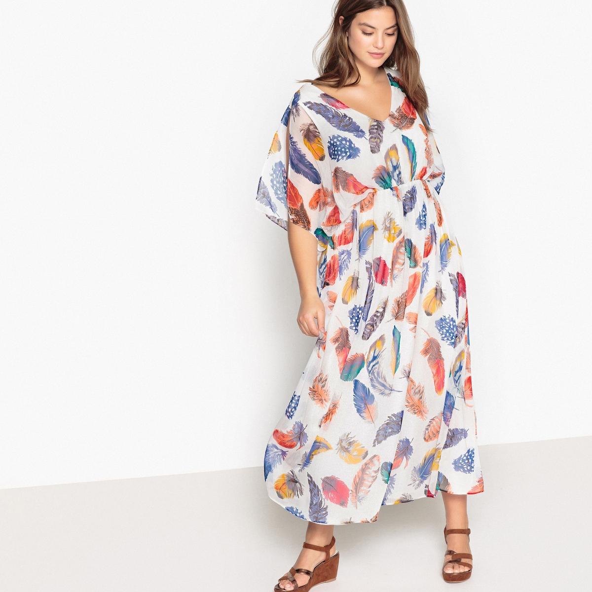 Платье длинное расклешенное с рисунком