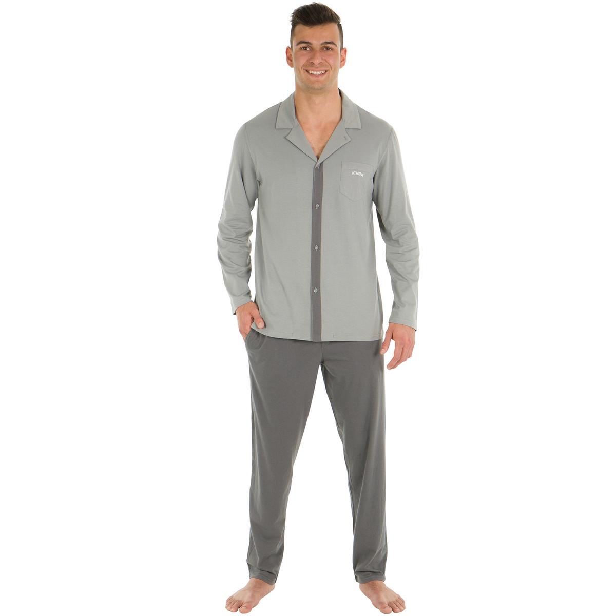 Пижама длинная, верх  форме рубашки с длинными рукавами