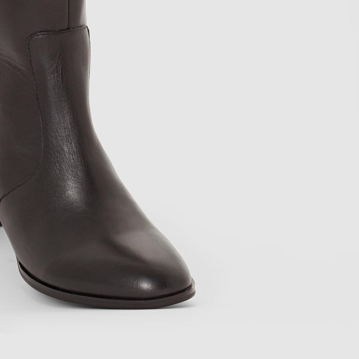 Сапоги из двух материаловВерх/Голенище: кожа                 Подкладка: текстиль         Стелька: кожа         Подошва: эластомер         Высота каблука: 5,5 см               Форма каблука: широкий         Мысок: закругленный         Застежка: на молнию<br><br>Цвет: черный<br>Размер: 36.41