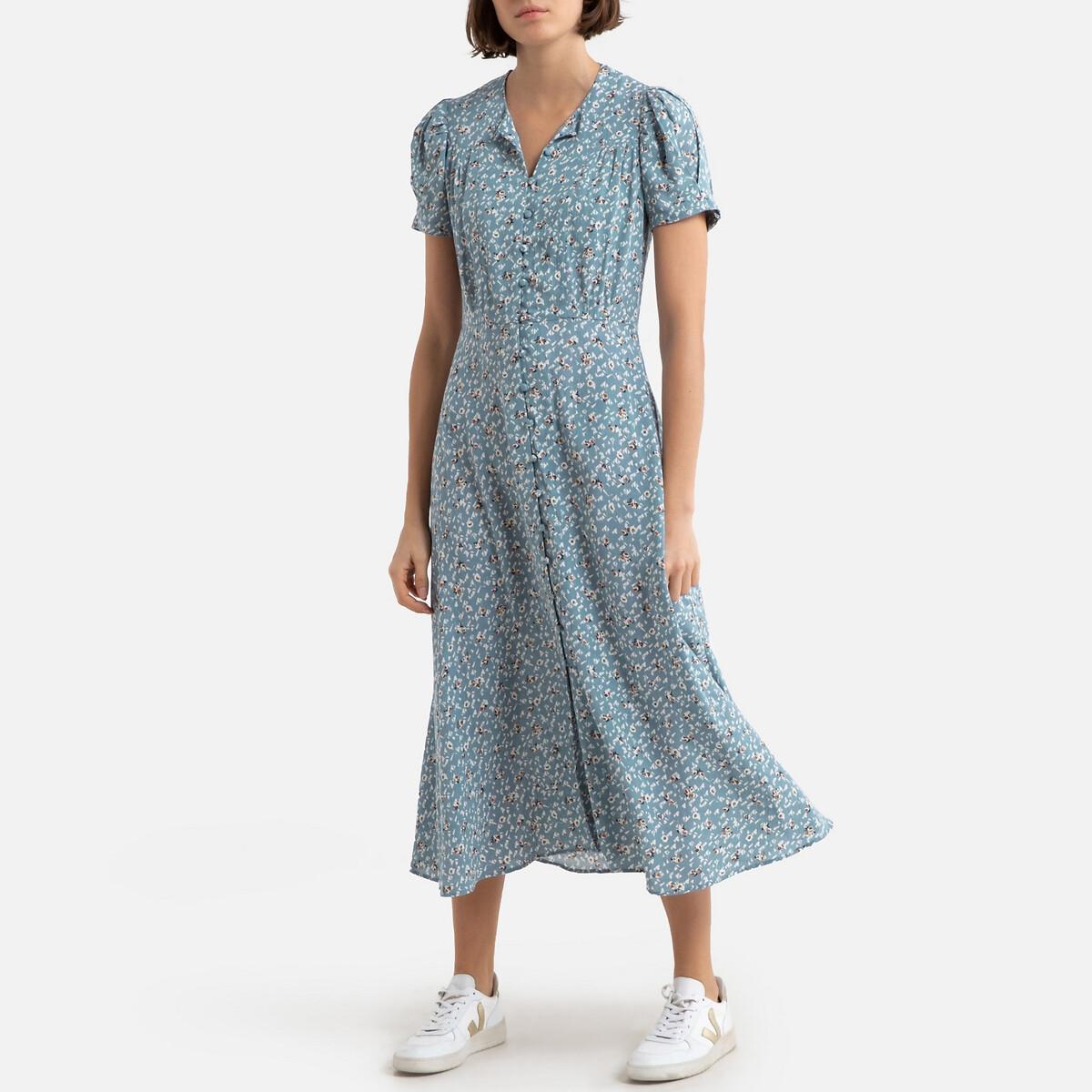 Платье LaRedoute Длинное с принтом на пуговицах ADELAIDA S синий