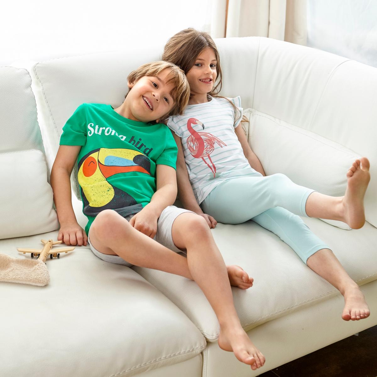 Пижама с шортами с рисунком тукан, 2-12 лет