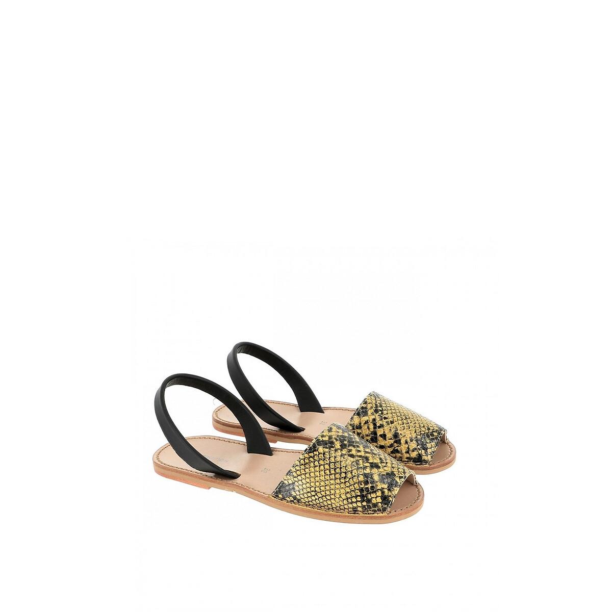 Фото - Сандалии LaRedoute Кожаные на плоском каблуке AVARCA REPTILE 37 желтый сандалии la redoute из кожи с перекрещенными ремешками на плоском каблуке 39 розовый