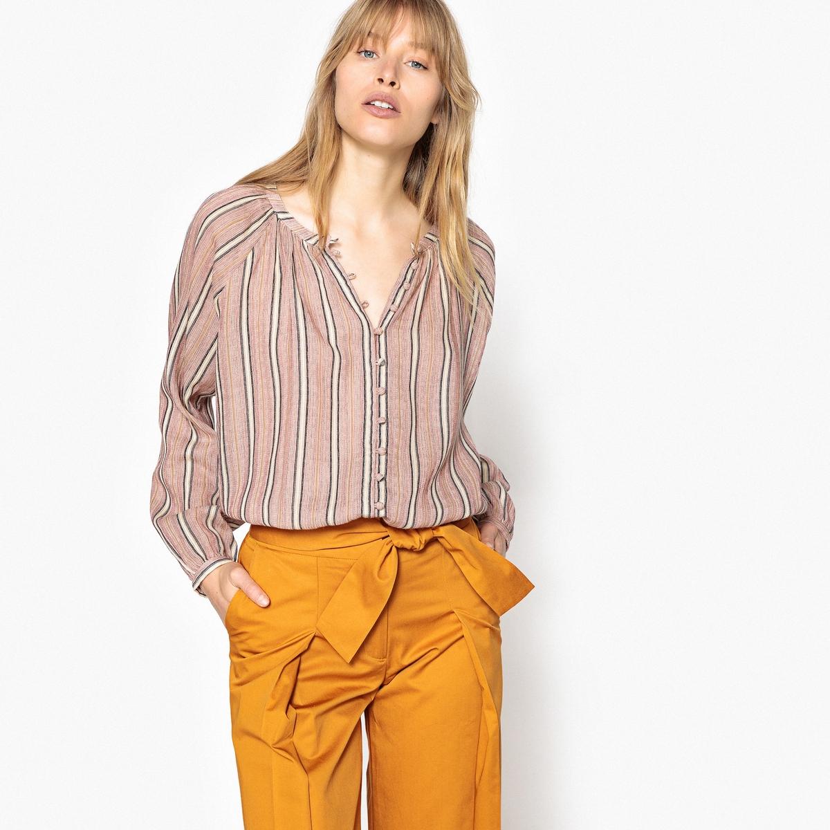 Блузка свободного покроя в полоску с застежкой на пуговицы сзади
