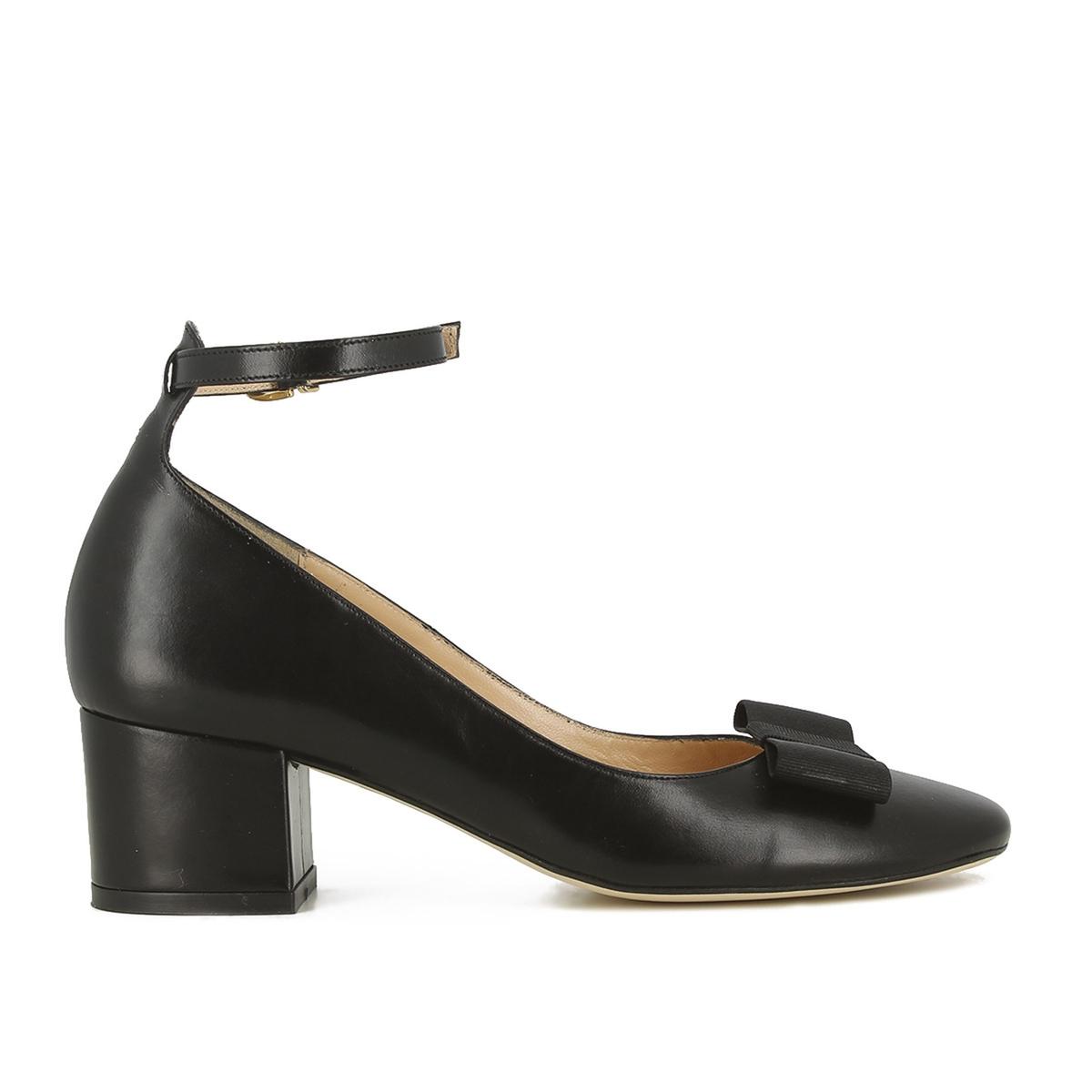 Zapatos tipo babies de piel con tacones anchos Vahe
