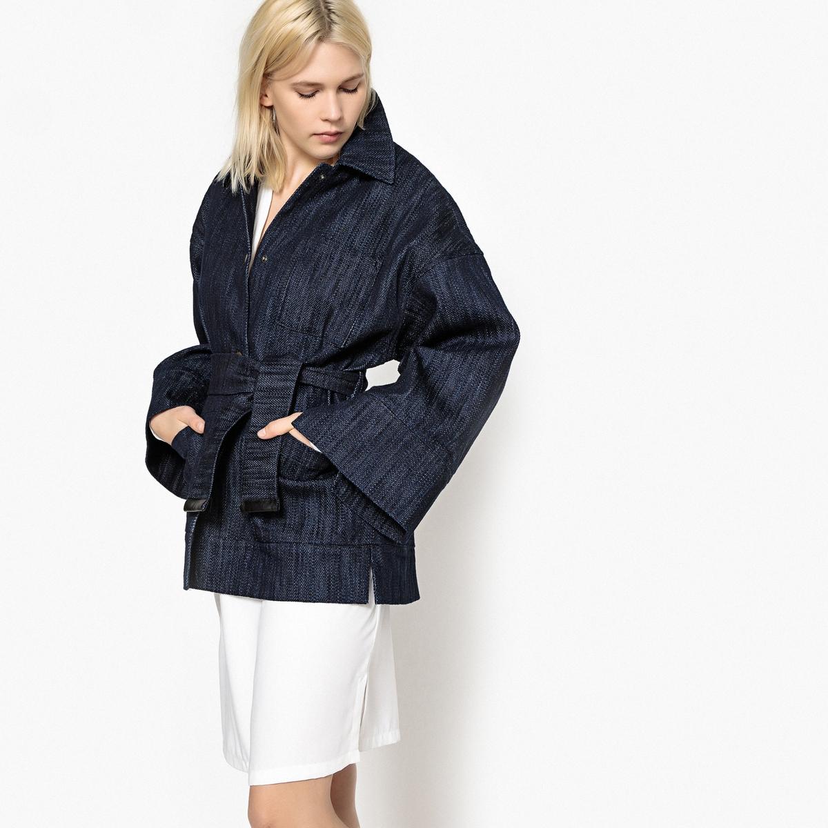 Пальто La Redoute Из денима с рукавами летучая мышь 36 (FR) - 42 (RUS) синий пальто la redoute из меха с капюшоном gabonback l синий