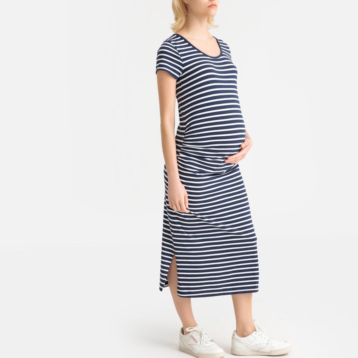 Платье La Redoute С короткими рукавами для периода беременности S синий платье la redoute из трикотажа для периода беременности s другие