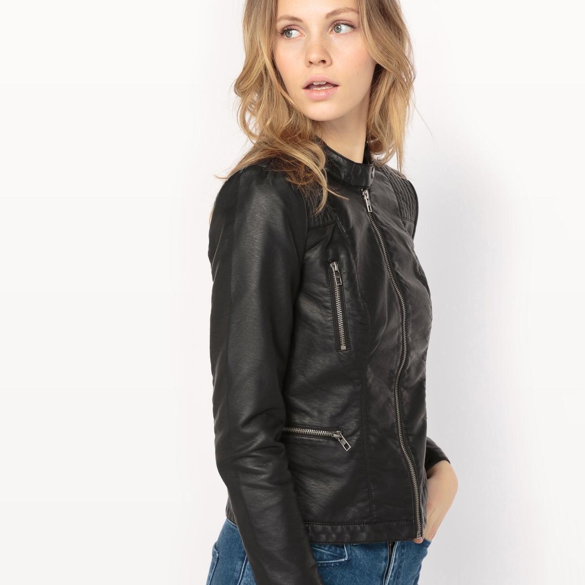 Куртка из искусственной кожиМатериал: 50% вискозы, 50% полиуретана.Тип застежки: застежка на молнию. Форма воротника: круглый вырез.Длина изделия: короткое.Рисунок: однотонная модель.<br><br>Цвет: черный<br>Размер: 40 (FR) - 46 (RUS)