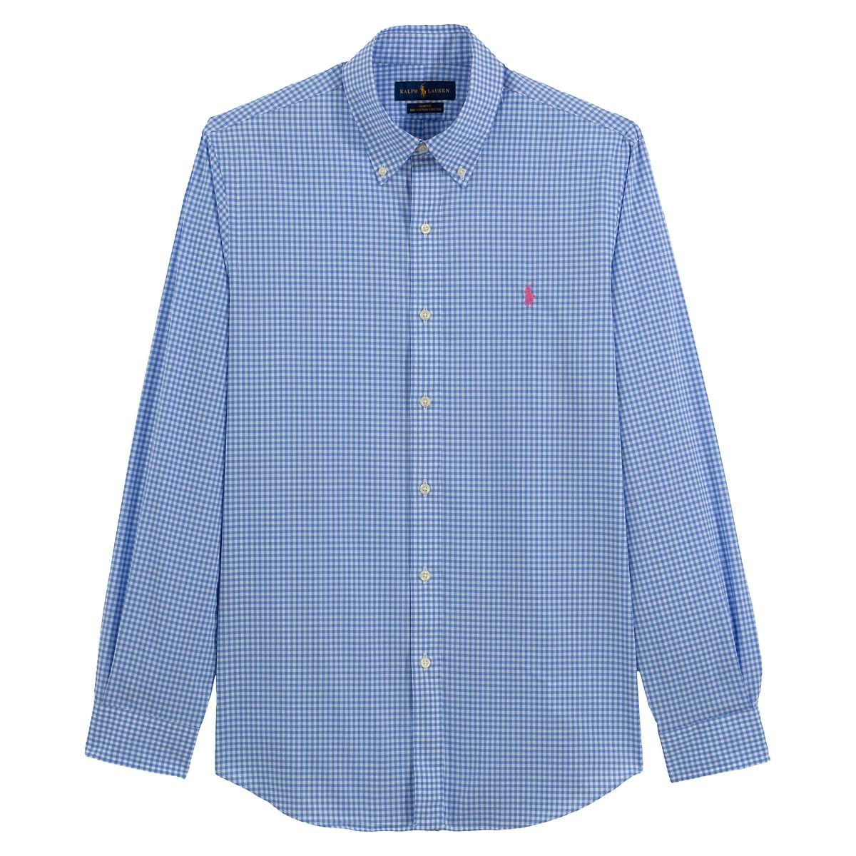 Рубашка La Redoute Узкого покроя в клетку из поплина S синий джинсы la redoute стретч узкого покроя hatch 32 34 синий