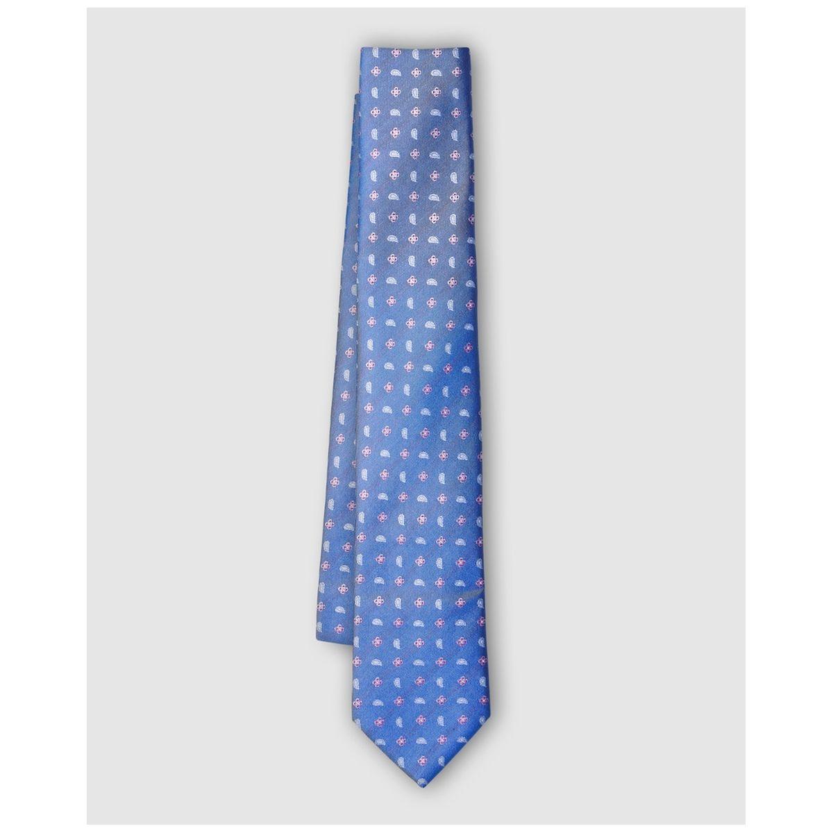 Cravate en soie bleu imprimé fantaisie
