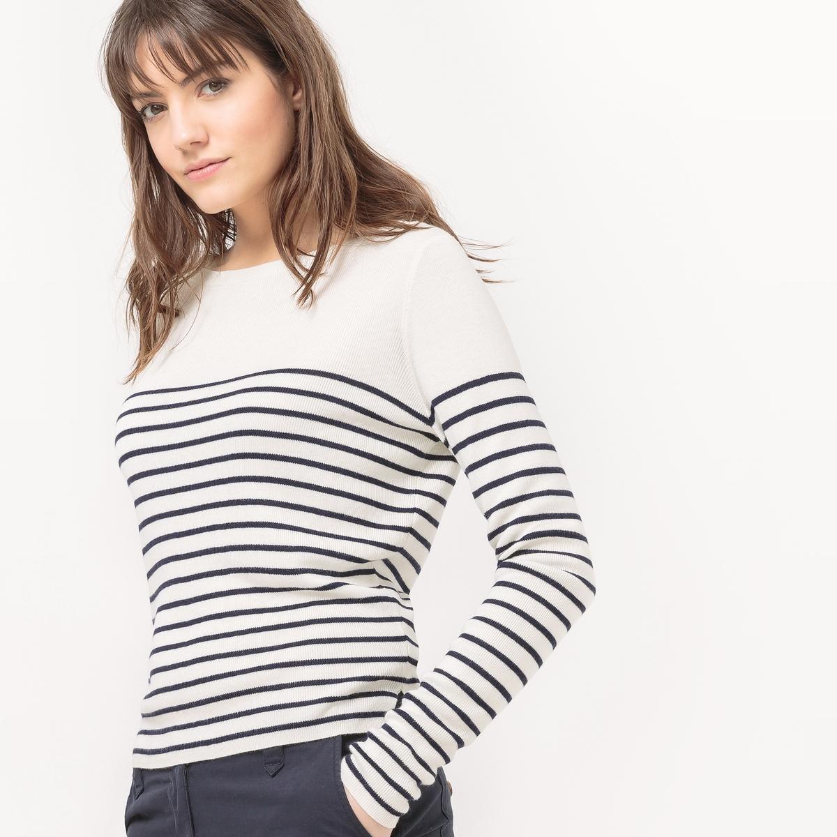 Пуловер в полоску в морском стилеМатериал : 80% вискозы, 20% полиамида Длина рукава : длинные рукава Форма воротника : круглый вырез Покрой пуловера : стандартный Рисунок : в полоску<br><br>Цвет: в полоску белый/темно-синий<br>Размер: L