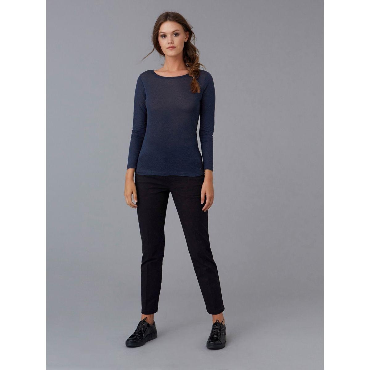 T-shirt femme jersey de lin col bateau