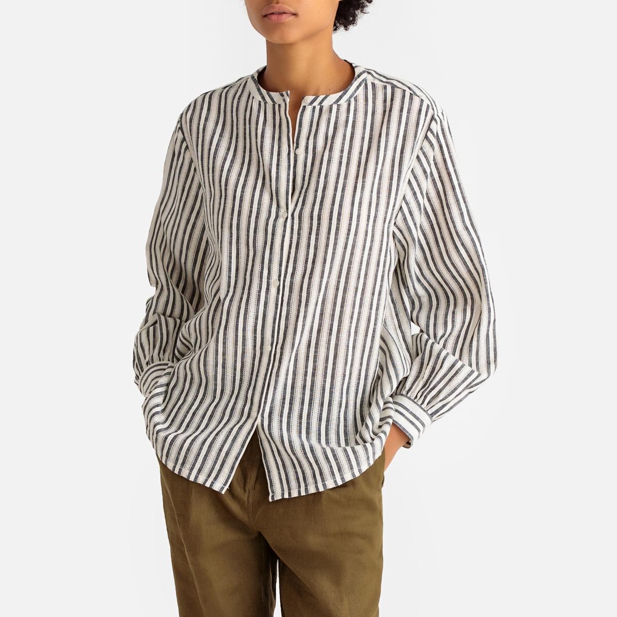 Camisa con cuello redondo a rayas, de manga larga