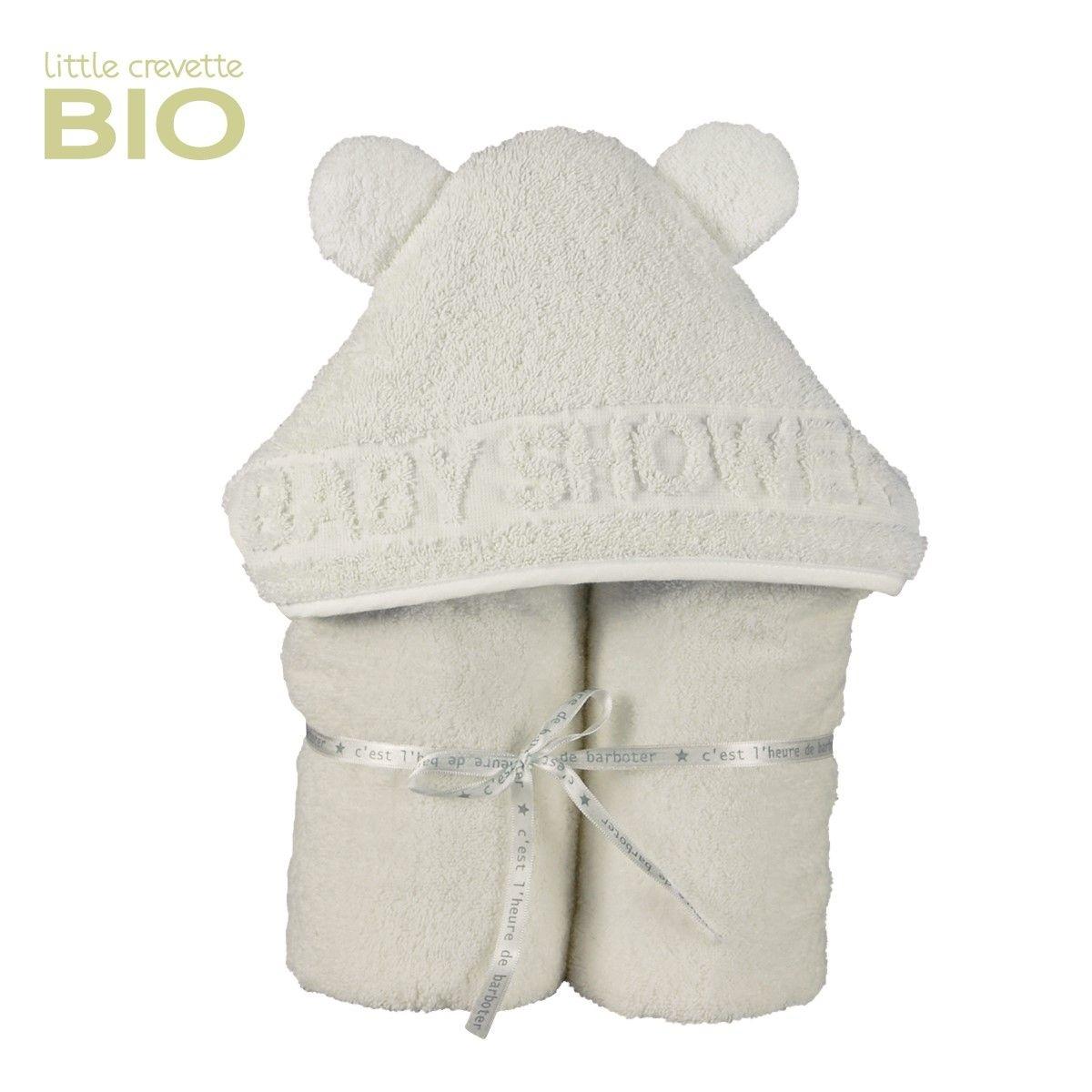 Sortie de bain bébé Ecru en éponge bio à oreilles Baby Shower