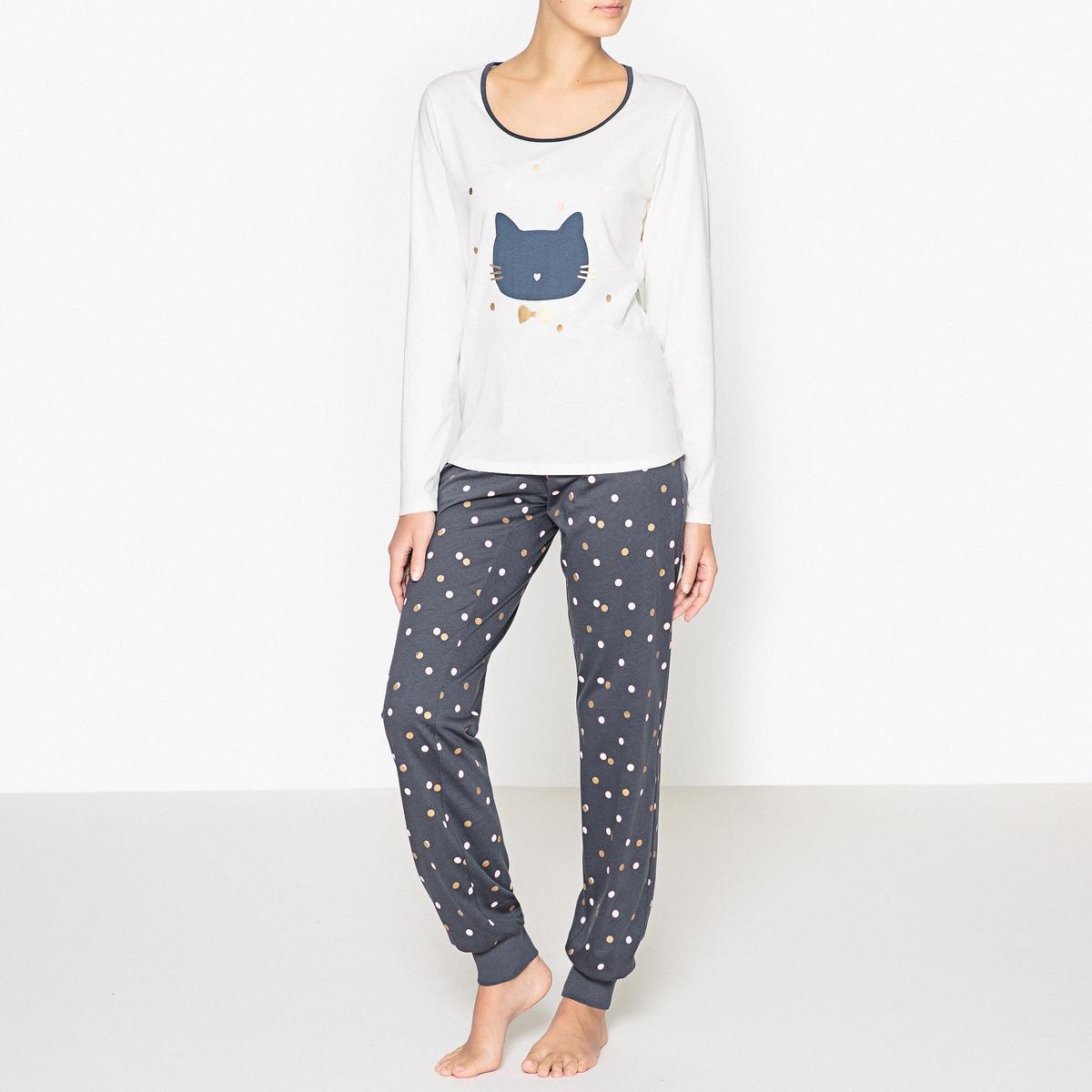 Пижама хлопковая с рисунком кот