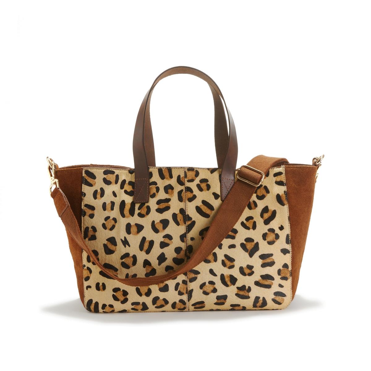 Bolso tote de piel con motivo leopardo