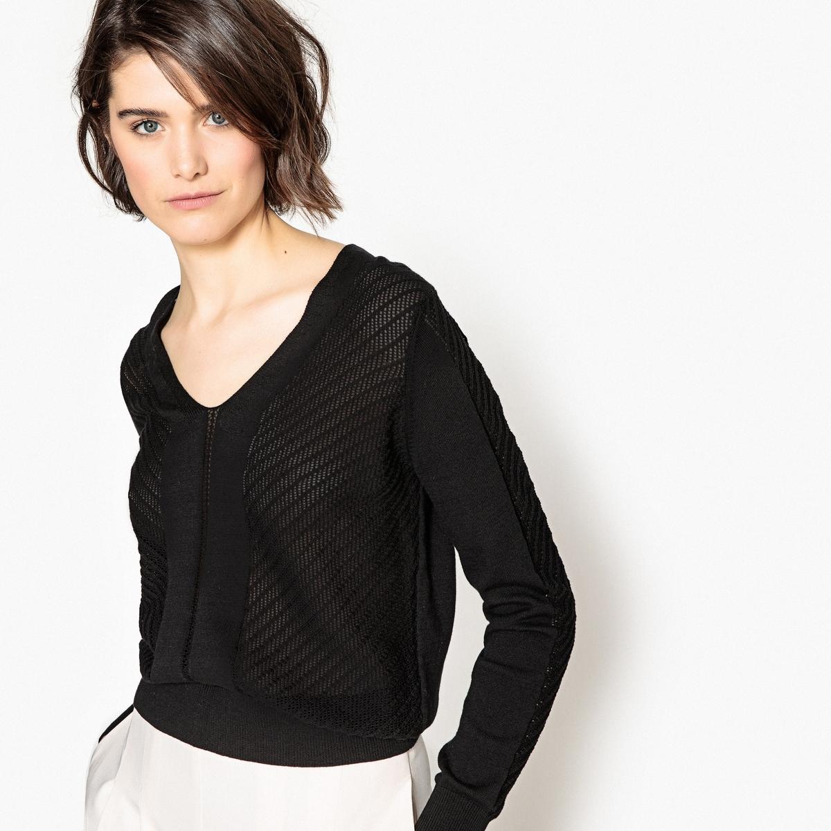 Пуловер с V-образным вырезом и длинными рукавами из тонкого ажурного трикотажа