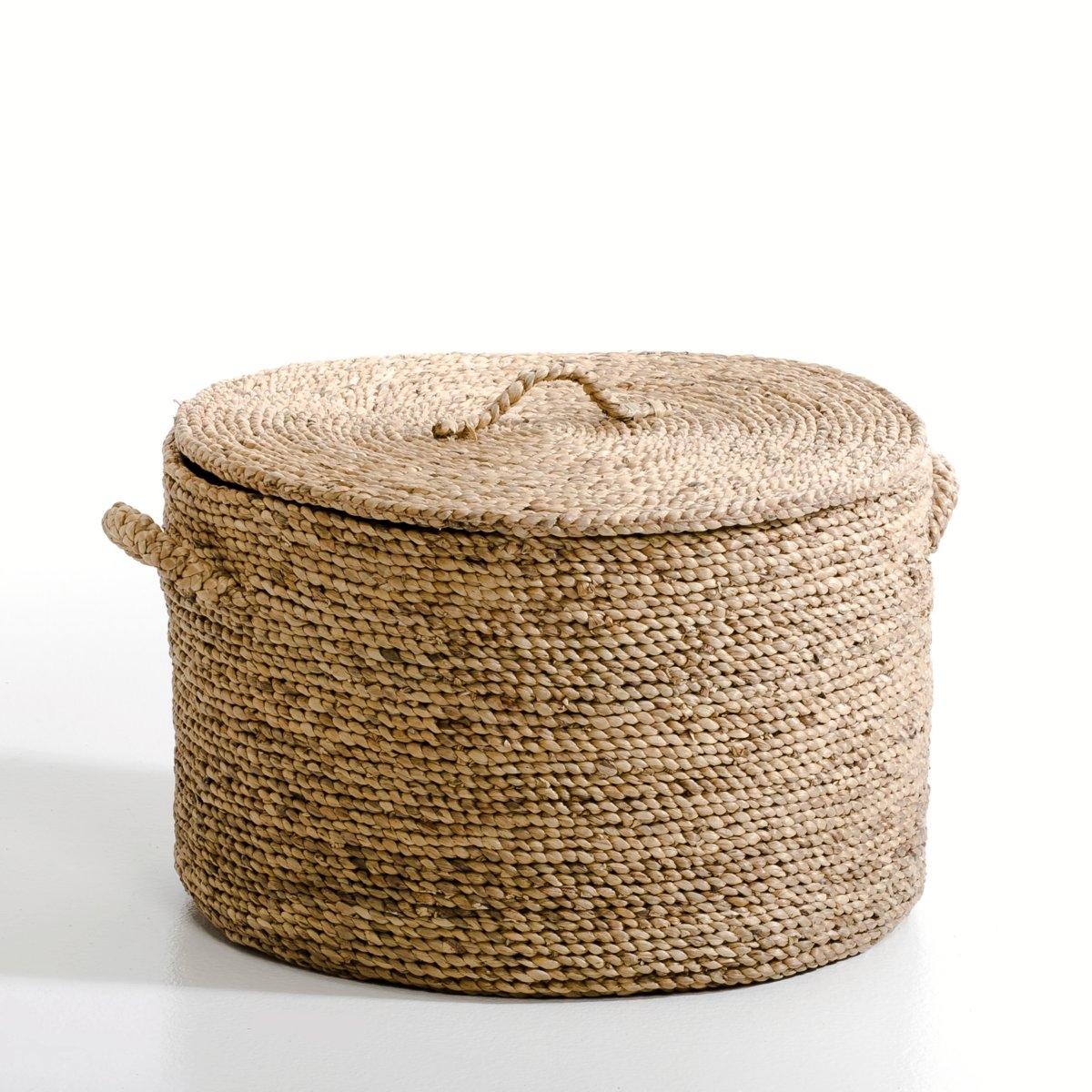 Корзина круглая из плетеных волокон эйхорнии. В36,5 см, LianeХарактеристики: : - Из плетеных волокон эйхорнии.- Ручная работа.Размеры  : - ?55 x В.36,5 см.<br><br>Цвет: серо-бежевый