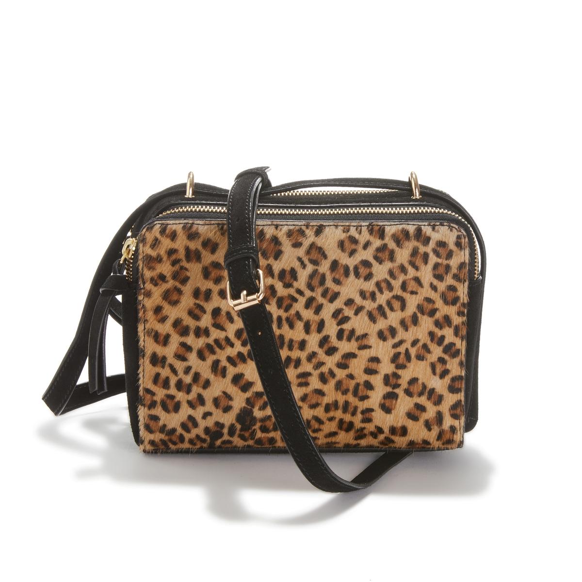 Bolso rígido de piel con motivo estilo leopardo