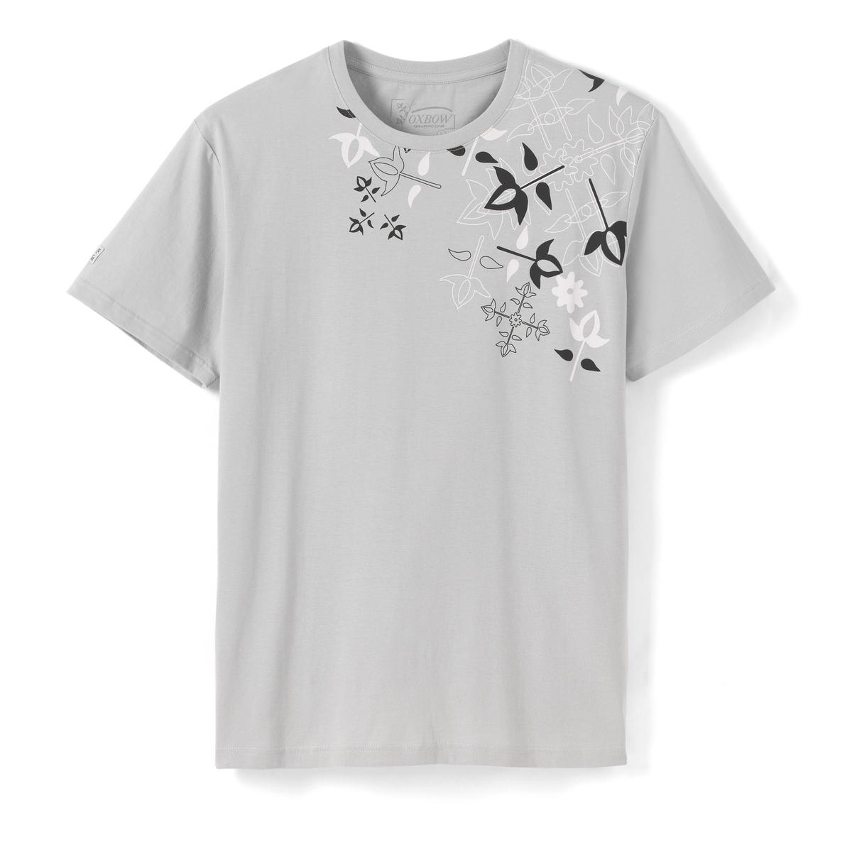 Футболка с рисунком TILARAФутболка, модель TILARA от OXBOW® - Короткие рукава - Прямой покрой- Круглый вырез- Шелкография спереди вокруг воротника с цветочным рисунком OxbowСостав и описание :Основной материал : 100% хлопокМарка : OXBOW®Уход :Машинная стирка при 40 °С<br><br>Цвет: светло-серый<br>Размер: M