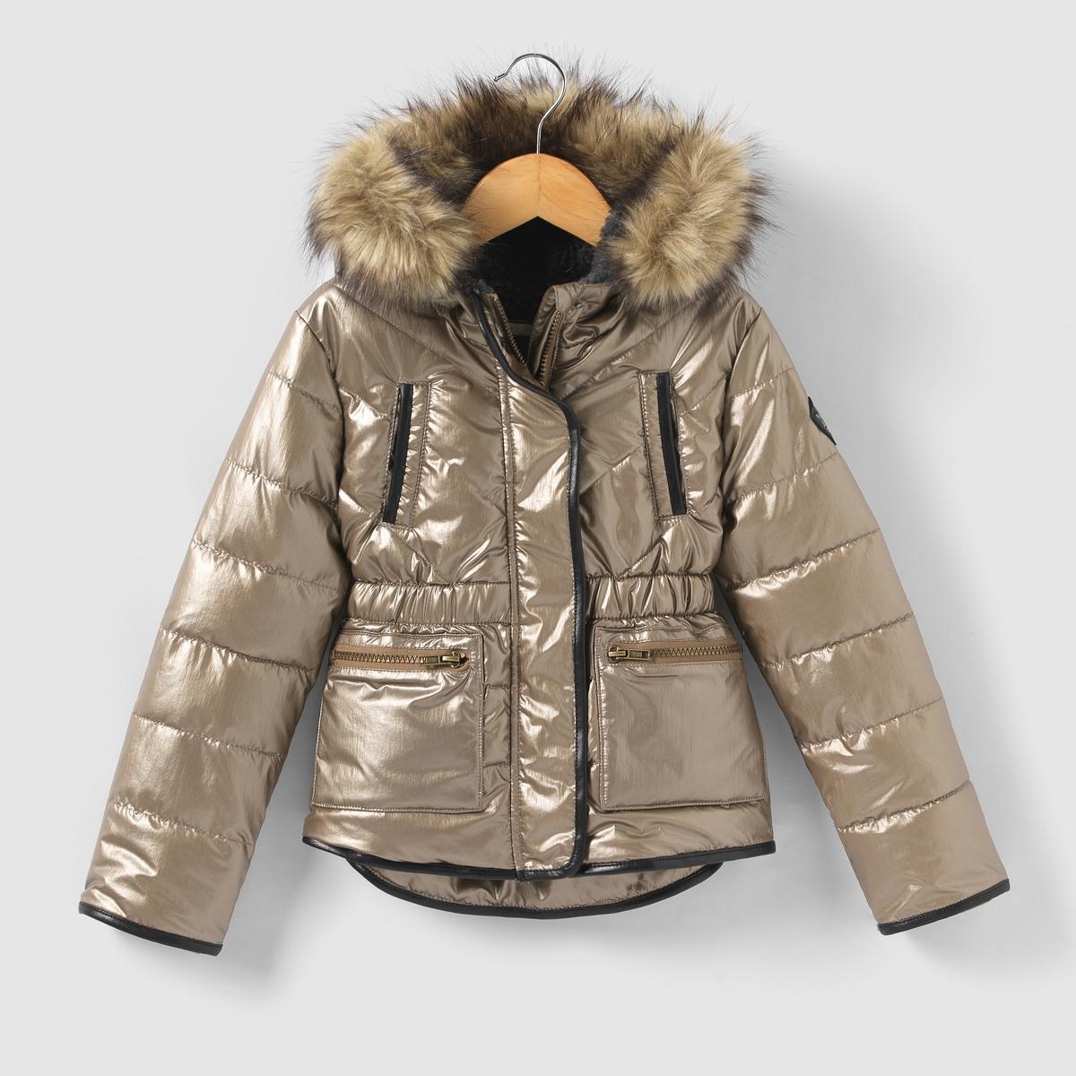 Куртка стеганая с капюшоном, искусственный мех, 3-14 лет