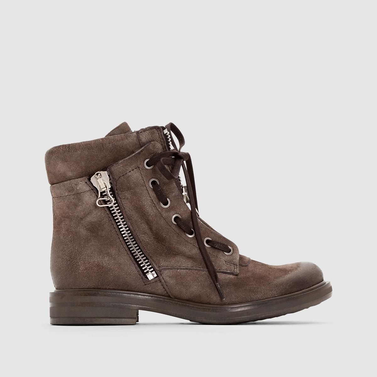 Сапоги из кожи MJUS CAFEПреимущества : сапоги MJUS на шнуровке и с металлическими люверсами, на молнии сбоку и с оригинальной лангеткой на молнии  . В духе нео-ретро  .<br><br>Цвет: серо-коричневый<br>Размер: 39