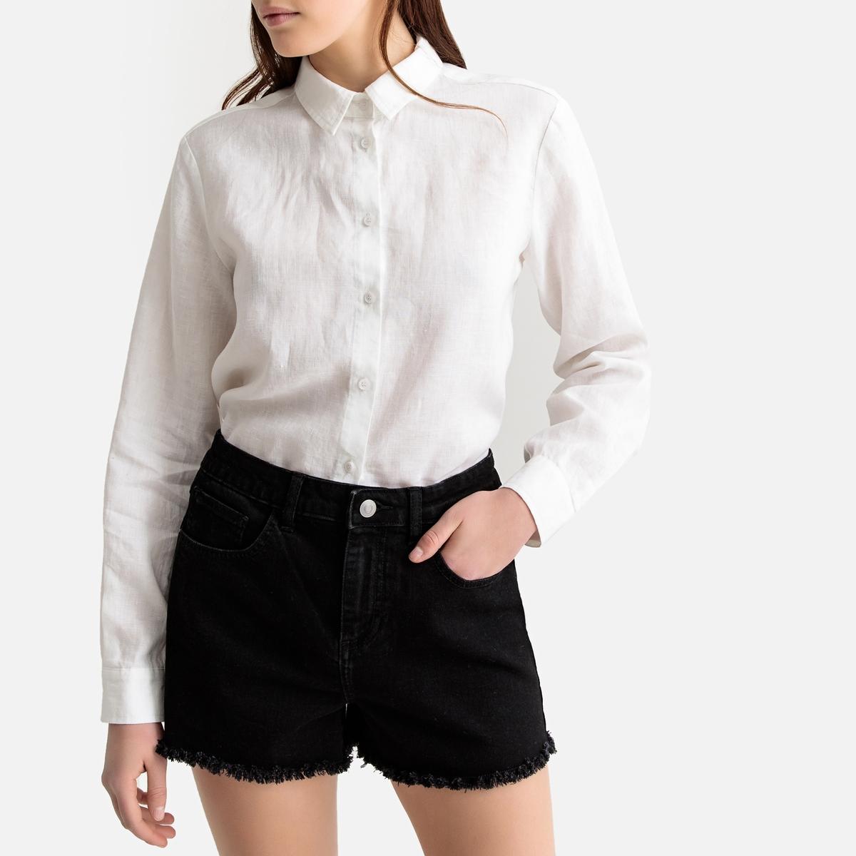 Блузка La Redoute Прямого покроя с длинными рукавами из льна 40 (FR) - 46 (RUS) белый рубашка la redoute прямого покроя в клетку с длинными рукавами 45 46 серый