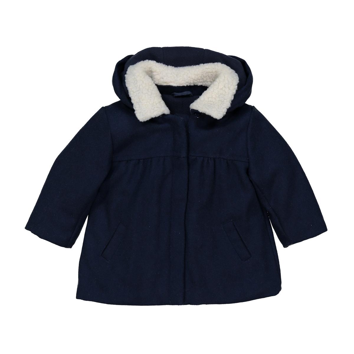 Пальто из шерстяного драпа с капюшоном 3 мес- 3 лет пальто с эффектом шерстяного драпа