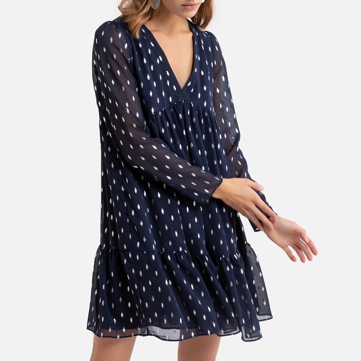 Платье LaRedoute Короткое расклешенное с длинными рукавами 40 (FR) - 46 (RUS) синий платье la redoute расклешенное короткое с длинными рукавами 46 fr 52 rus синий